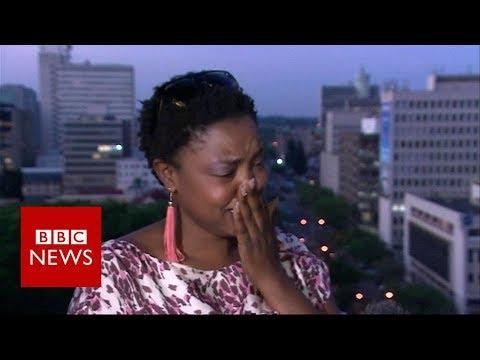 Mugabe resigns: activist breaks down in tears of Joy - BBC News