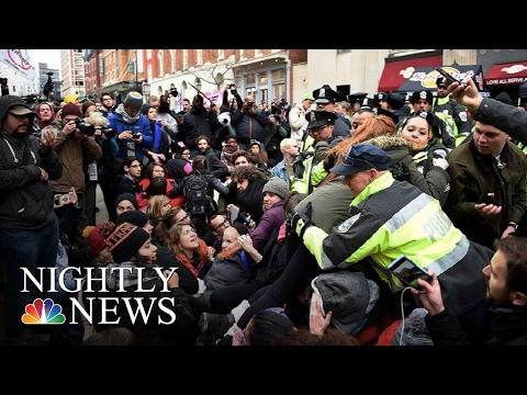 Violent Anti-Trump Protests Try To Steal Spotlight On Inauguration Day | NBC Nightly News