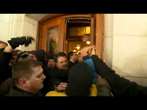 Protesters storm Wisconsin capitol