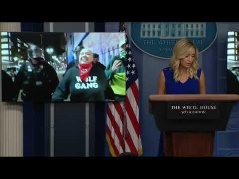 Kayleigh McEnany plays Portland riot video at briefing