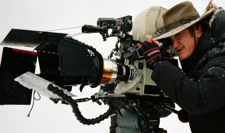 Director Quentin Tarantion on set of The Hateful Eight