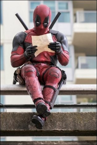 Ryan Reynolds's Deadpool relaxes before a battle.