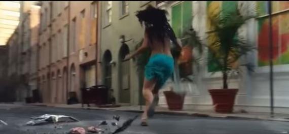 A person walking down a street