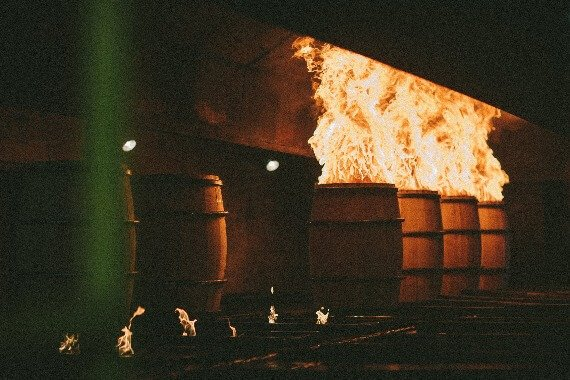 neat bourbon barrels fire