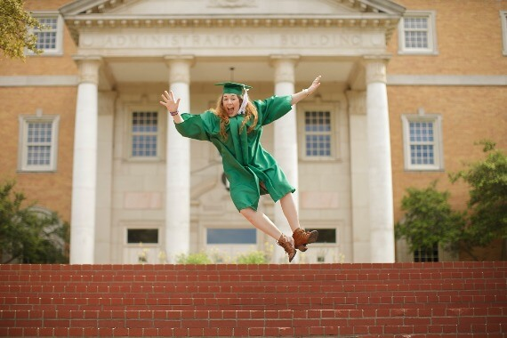 Jumping for joy at college