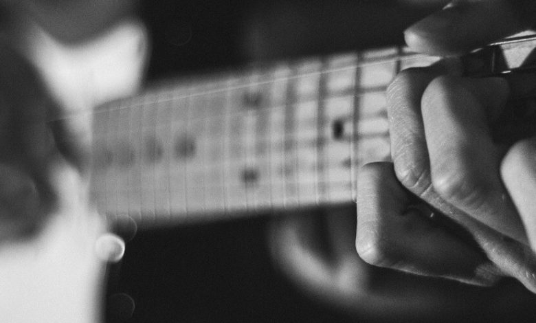A blurry image of a guitar