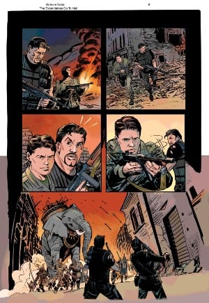 The Expendables in Hell comic book panel