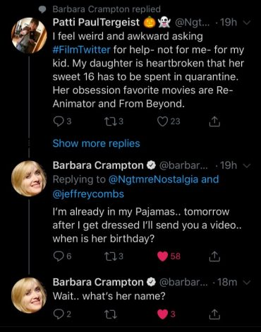 Texts from Barbara Crampton