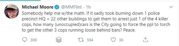 Michael Moore burn cars tweet