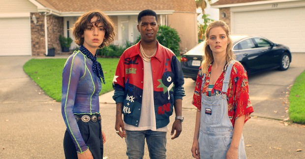 Brigette Lundy-Paine Kid Cudi and Samara Weaving in BILL-TED FACE THE MUSIC