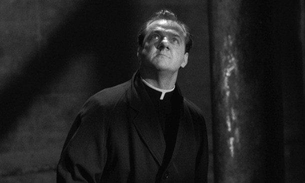 Karl Malden plays a priest delivering a critical sermon in 'On the Waterfront.'